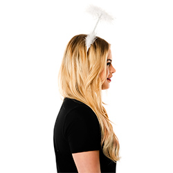 Side View Of White Halo On Model In Front Of White Background