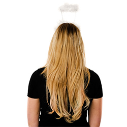Back View Of White Halo On Model In Front Of White Background