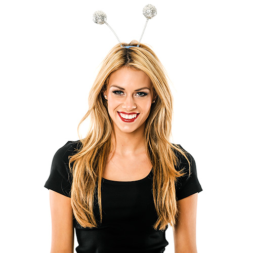 Model Wearing Silver Glitter Ball Boppers