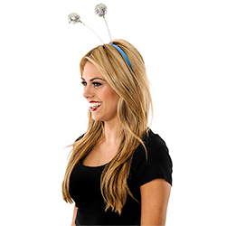 Side View Of Model Wearing Silver Glitter Ball Boppers