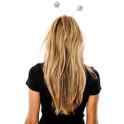 Back View Of Model Wearing Silver Glitter Ball Boppers