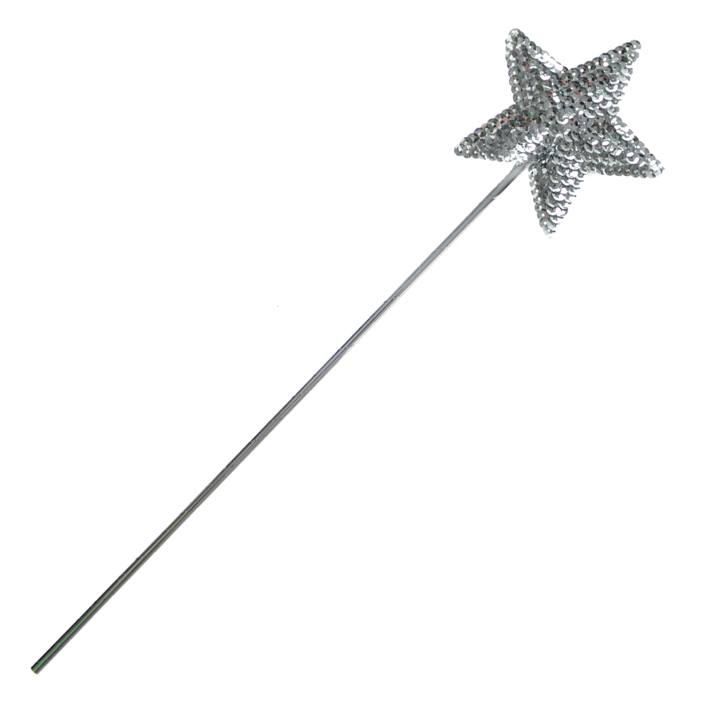 Silver Sequined Star Wand On White Background