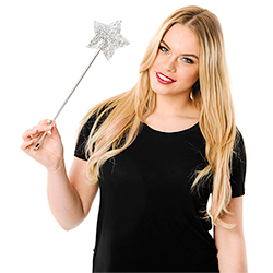 Model Holding Silver Sequined Star Wand
