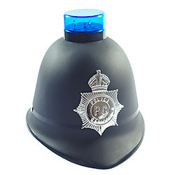 Police Helmet with Blue Flashing Light