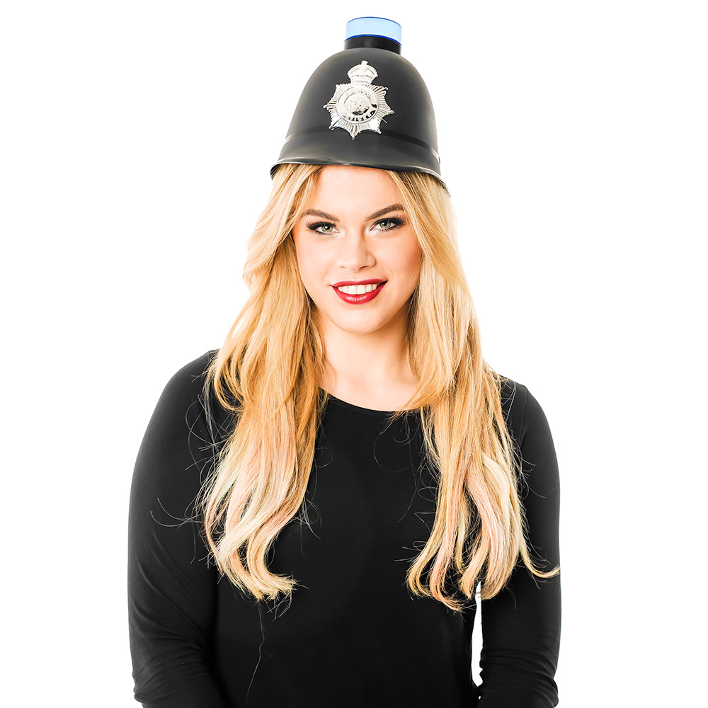 Woman wearing a Police Helmet with Blue Flashing Light