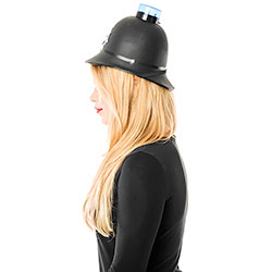 Woman wearing a Police Helmet with Blue Flashing Light side view