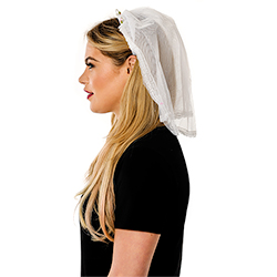Side View Of Model Wearing White Veil
