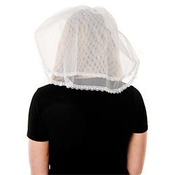 Back View Of Model Wearing White Veil