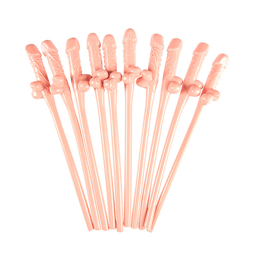 Pack of ten hen party willy straws.