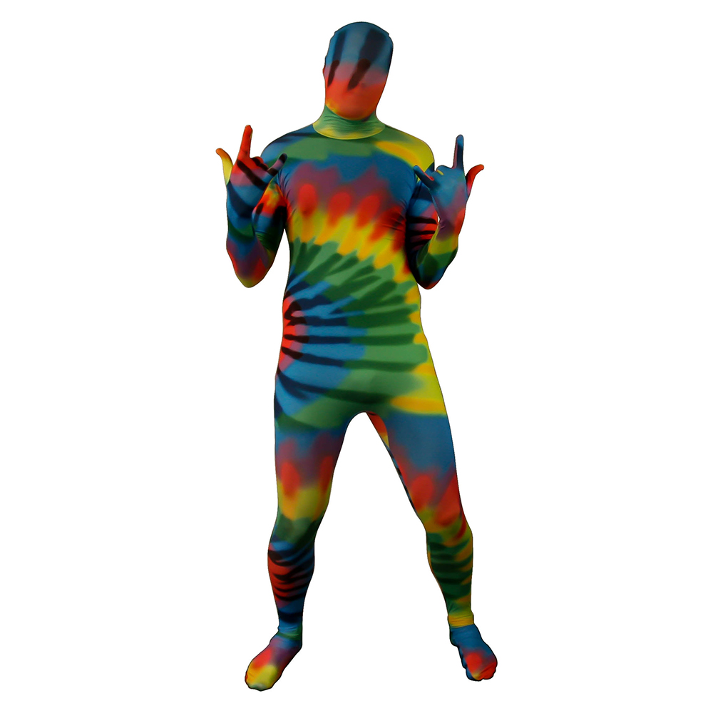 Tie Dye Morphsuit In Front Of White Background