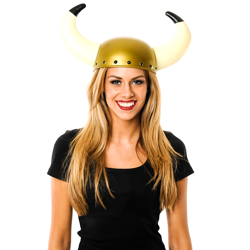 Viking Helmet with Large Horns In Front Of White Background