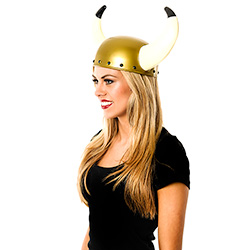 Side View Of Viking Helmet with Large Horns
