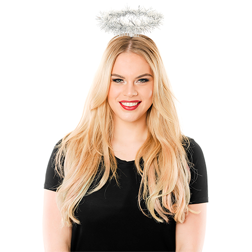 Model Wearing Silver Tinsel Angel Halo