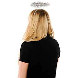 Back View Of Silver Tinsel Angel Halo