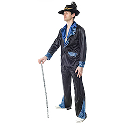 Side Facing Pimp costume in black and blue