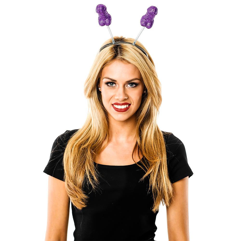Purple Glitter Willy Head Boppers Being Worn By Model