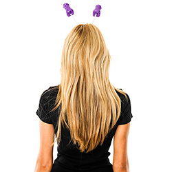 Back View Of Purple Glitter Willy Head Boppers