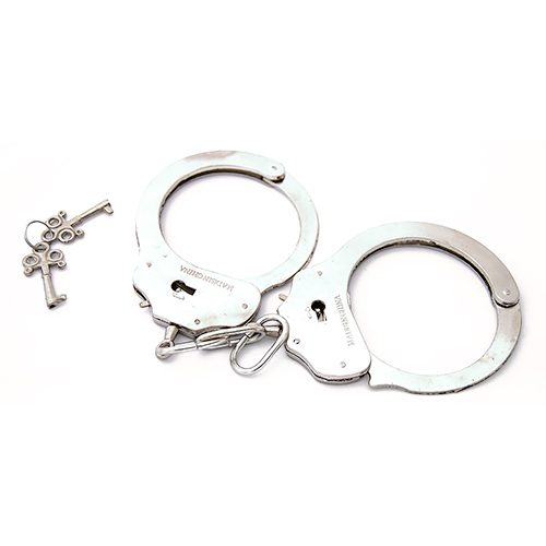 Classic Metal Handcuffs On White Background