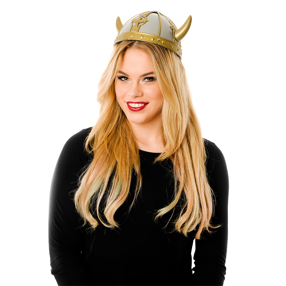 Model Wearing Gold And Silver Viking Helmet
