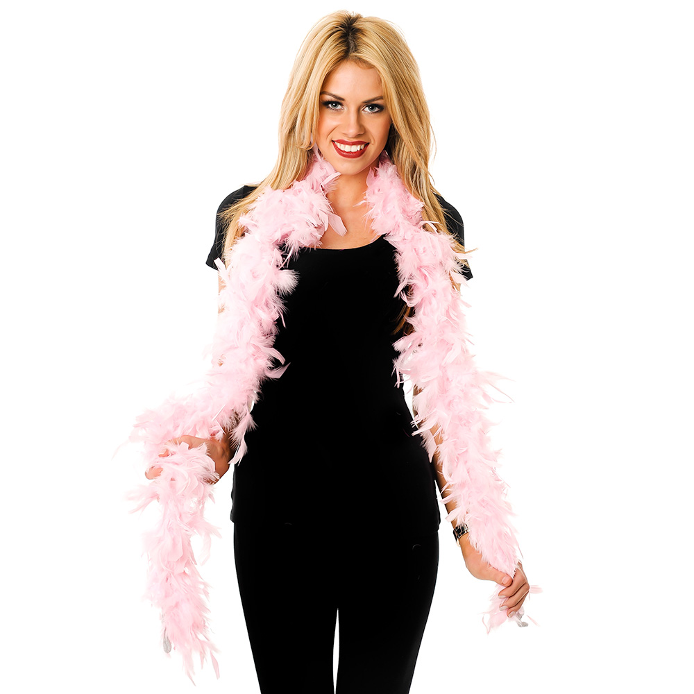 Model Wearing Pink Feather Boa