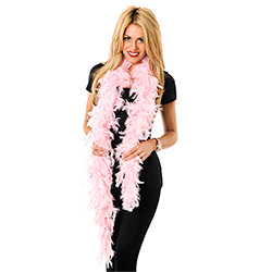 Pink Feather Boa Worn By Model