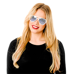 Model Photo Of White Slatted Sunglasses