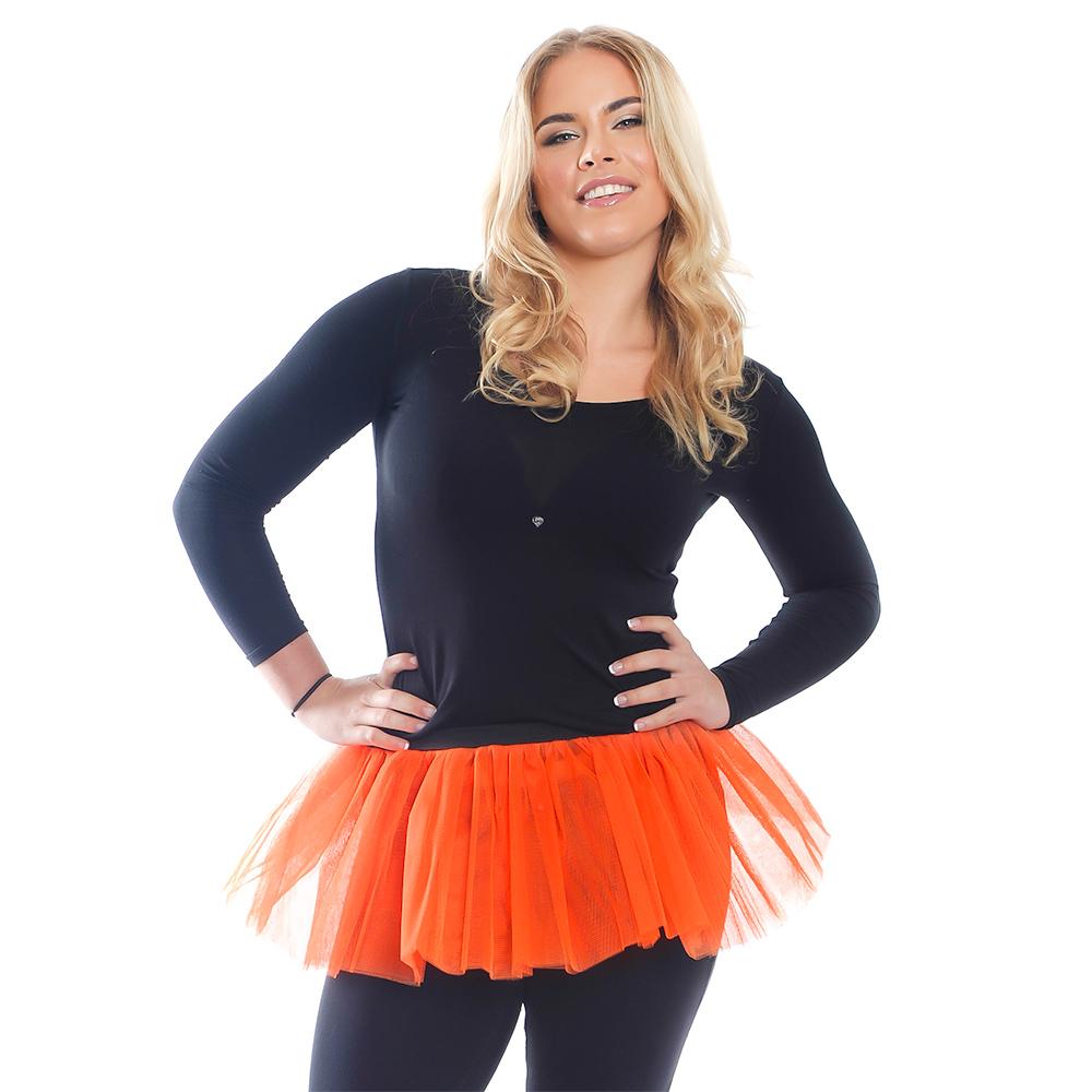 Model Wearing Orange Tutu