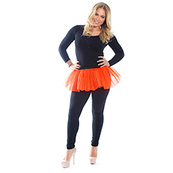 Model Wearing Orange Tutu In Front Of White Background