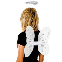 White Wings and Halo Fairy Set In Front Of White Background With Model