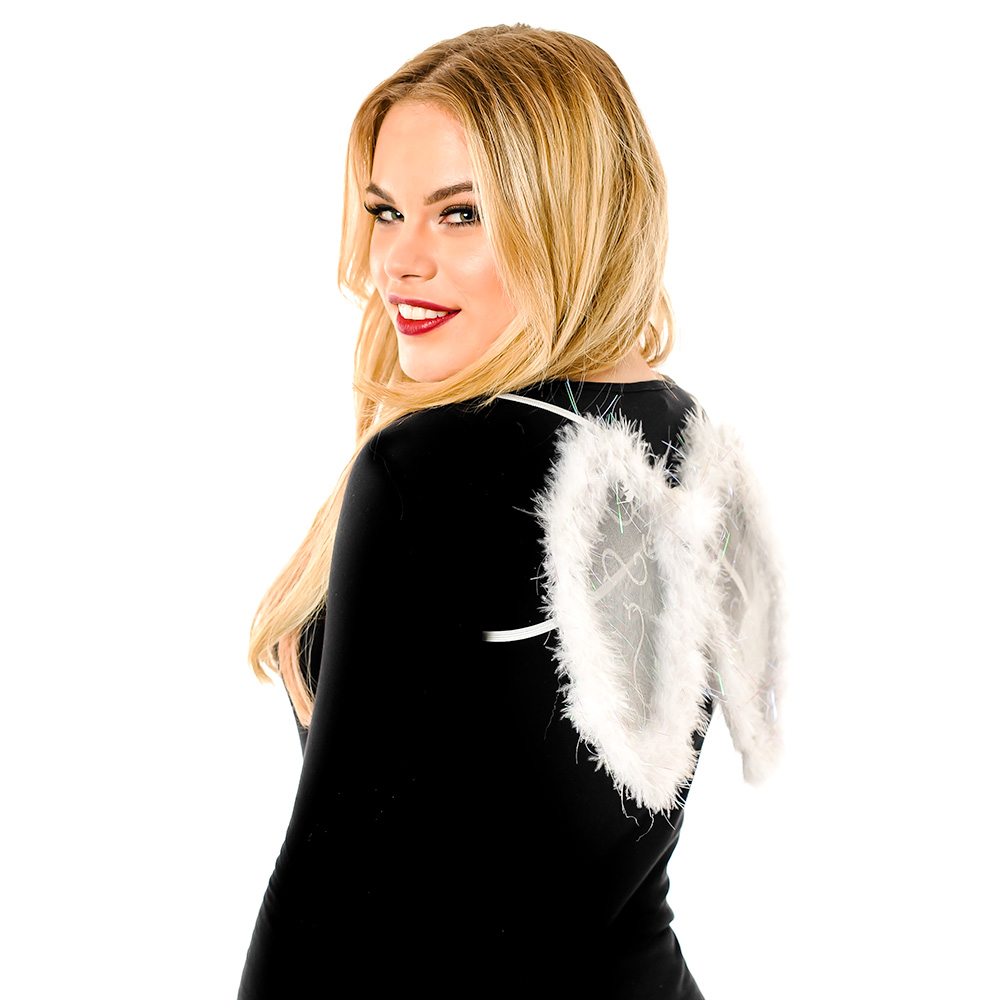 Model Wearing Small White Wings with Glitter