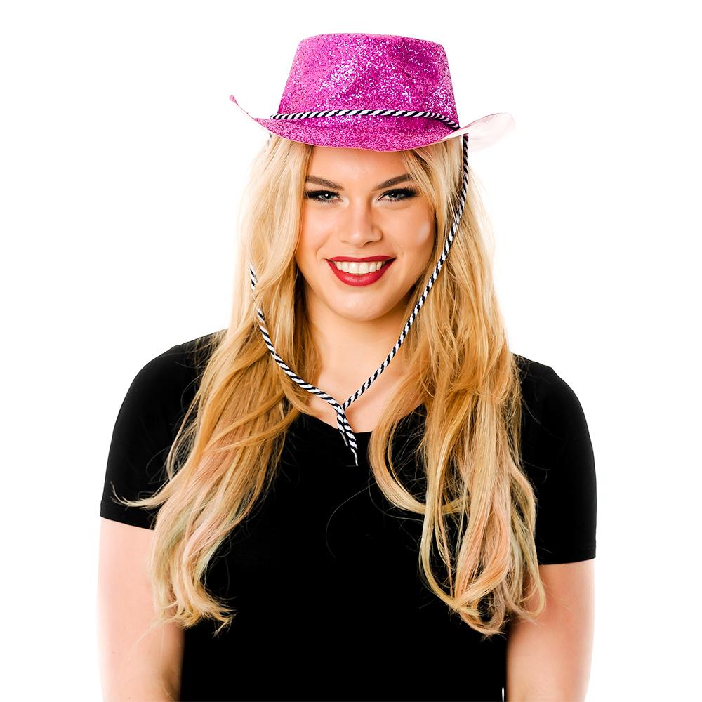 Front Facing ModelPink Glitter Cowboy Hat