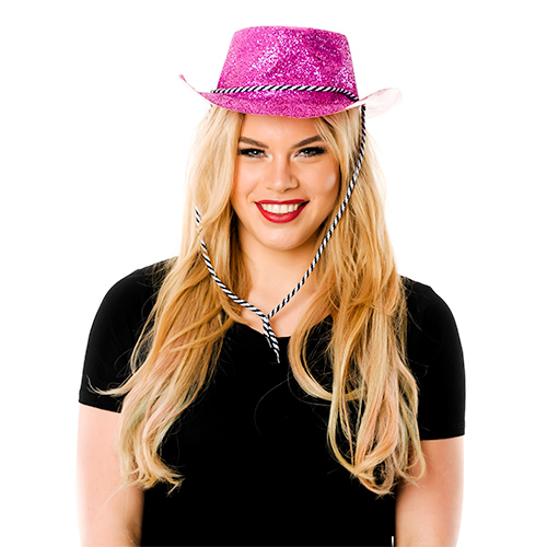 Front Facing ModelPink Glitter Cowboy Hat