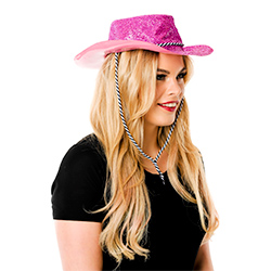 Side Facing Pink Glitter Cowboy Hat