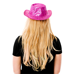 Back View Of Pink Glitter Cowboy Hat