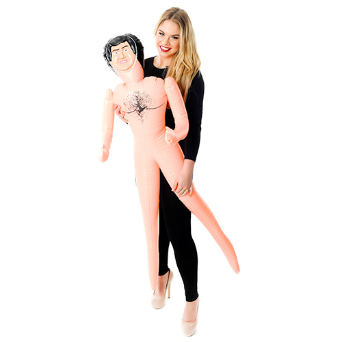 Model Holding Inflatable Male Doll