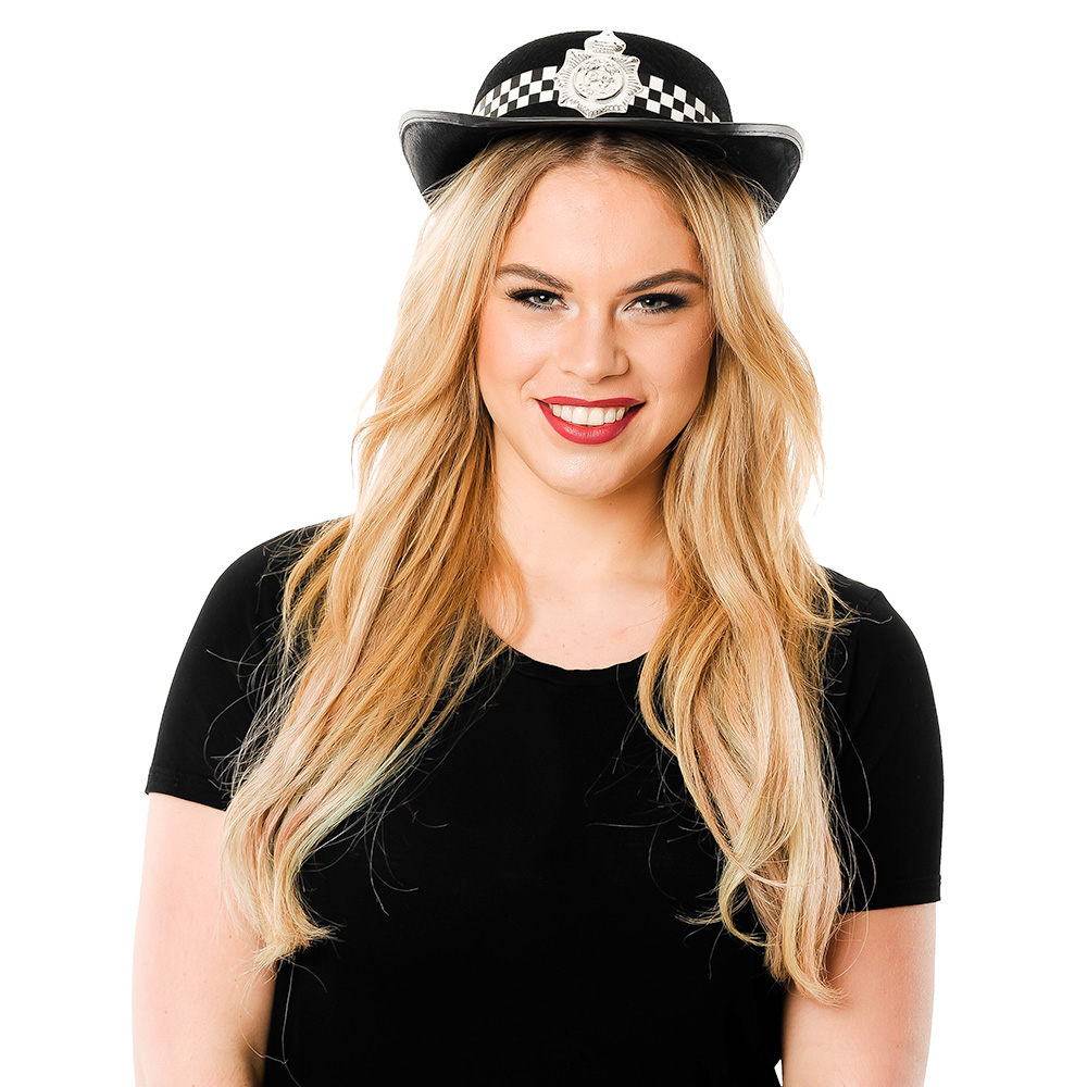Front Of Woman Wearing Police Woman Hat