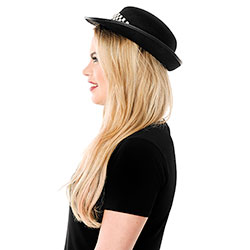 Side View Of Woman Wearing Police Woman Hat side view
