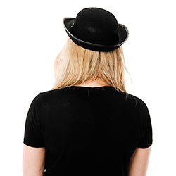 Back Of Woman Wearing Police Woman Hat rear view