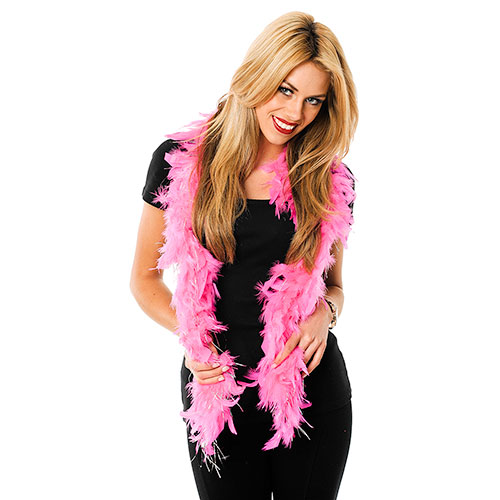 A model in black wearing a hot pink feather boa.