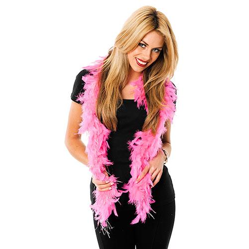 A model wearing a hot pink boa.