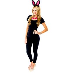 Side Facing Pink and Black Bunny Ears and Tail Set