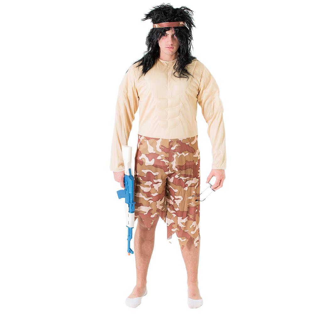 A Rambo lookalike brandishing an AK47