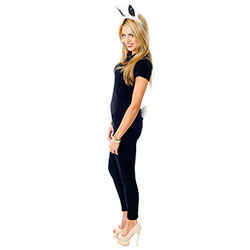 Model Wearing White and Black Bunny Ears and Tail Set