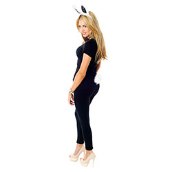 Back View Of Model Wearing White and Black Bunny Ears and Tail Set