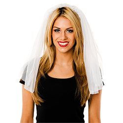 Model Front View Of The White Veil With Headband