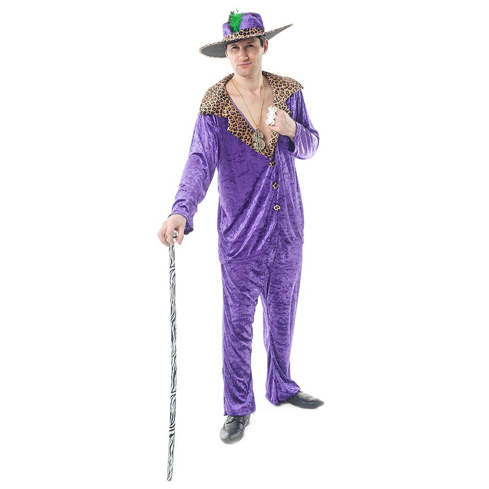Model Wearing Purple Pimp Costume