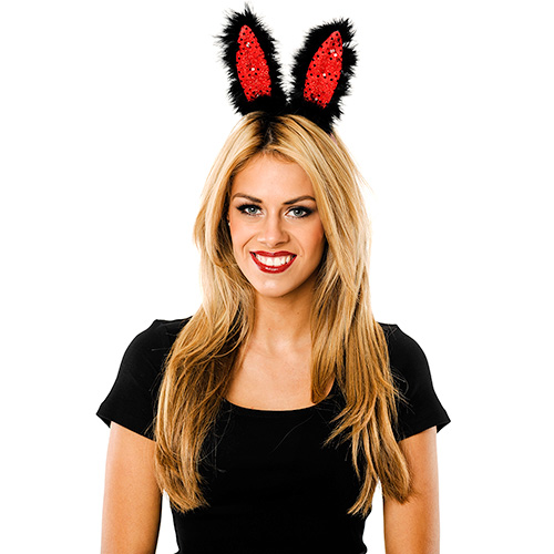 Model Wearing Flashing Black & Red Bunny Ears