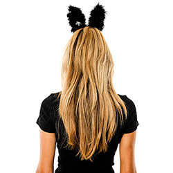 Back View Of Flashing Black & Red Bunny Ears
