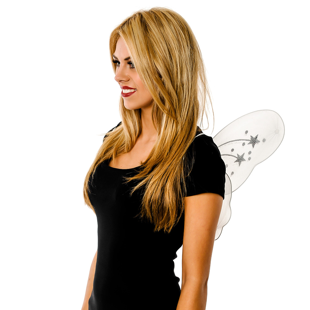 Model Wearing White Fairy Wings In Front Of White Background