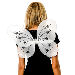 Back View Of White Fairy Wings In Front Of White Background